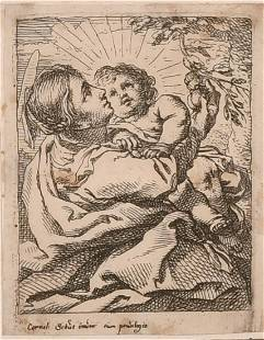 Old Master engraving, 17th / 18th Century, A mother and