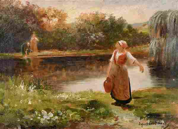 Late 19th Century French School, Washerwoman collecting