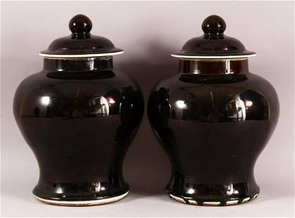 A PAIR OF CHINESE FAMILLE NOIR PORCELAIN GINGER JARS &