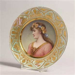 A VERY GOOD 19TH CENTURY VIENNA CIRCULAR PORTRAIT PLATE