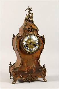 A GOOD FRENCH CLOCK in a painted case with figures and