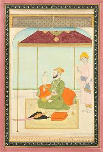 Sikh School, a miniature painting of a Prince with a