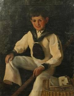 19th Century English School, Portrait of a boy in a