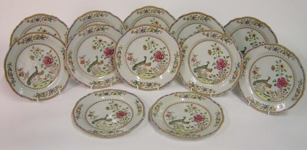 859: A VERY GOOD SET OF TWELVE CHINESE 18TH CENTURY FAM