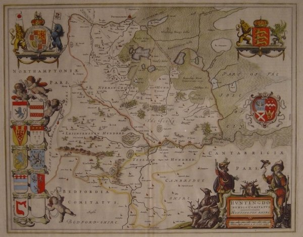 1307: AN EARLY COLOURED MAP OF HUNTINGDONSHIRE, double