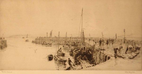 1309: W. L. WYLLIE Trial Proof Etching Fishermen unload