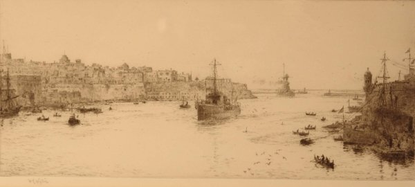 1310: W. L. WYLLIE Frigates entering Malta harbour Sign