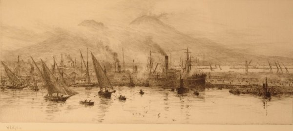 1311: W. L. WYLLIE Boats in a continental harbour, volc