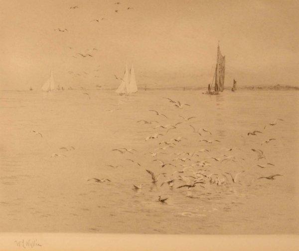 1312: W. L. WYLLIE Seagulls Signed Image 7 x 8¾ins.
