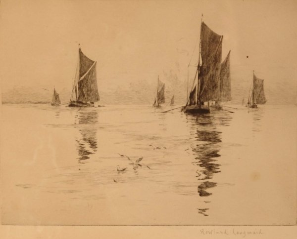 1314: ROWLAND LANGMAID Boats in a calm Signed Image 7¼