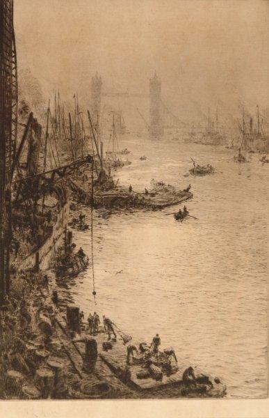 1316: W. L. WYLLIE Down Stream from London Bridge Etchi