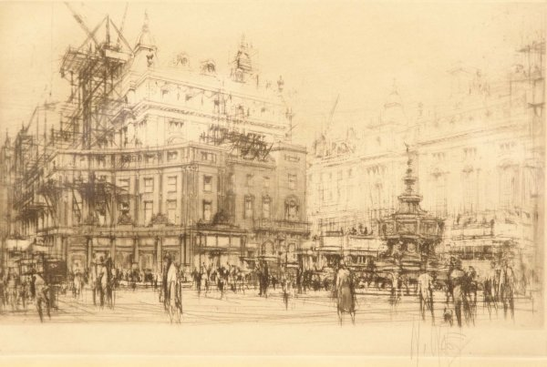 1317: WILLIAM WALCOT Piccadilly Circus Drypoint Signed