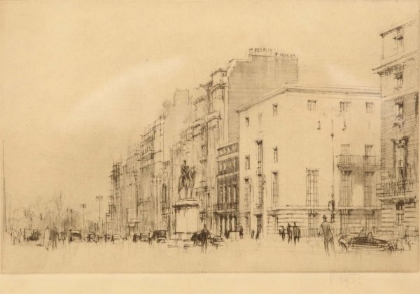 1318: WILLIAM WALCOT London scene Drypoint Signed in Pe