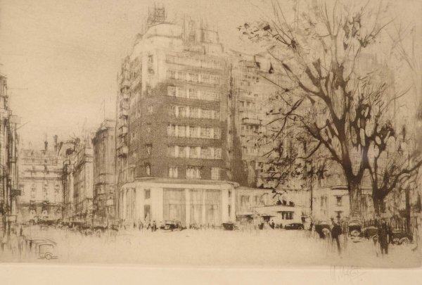 1319: WILLIAM WALCOT Sloane Square Etching with tone Si