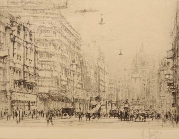 1320: WILLIAM WALCOT Fleet Street Drypoint. Signed in P