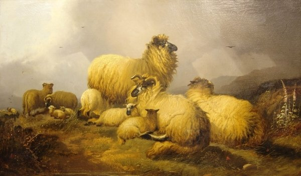 1553: ALFRED MORRIS (19TH CENTURY) BRITISH Sheep on a h