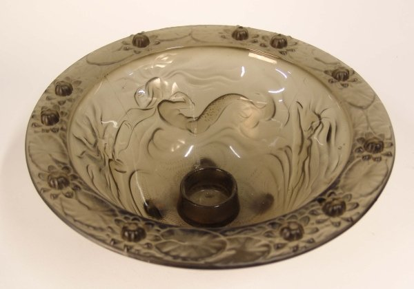 2007: A FRENCH GREY GLASS SMOKED CIRCULAR BOWL decorate