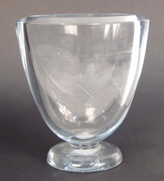 2009: A SHOMBURG GLASS VASE etched with a fish and a ma