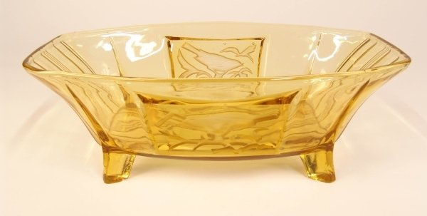 2012: AN AMBER CUT RECTANGULAR BOWL with two etched pan