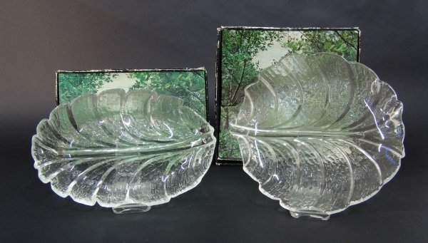 2019: TWO ORREFORS CLEAR GLASS DISHES, from the 'Eden'
