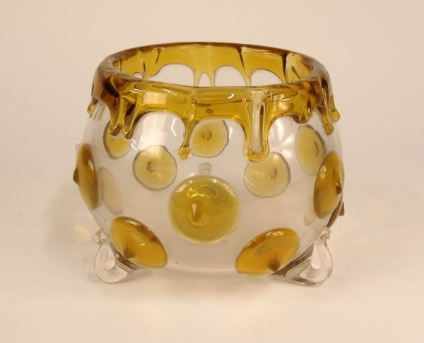2023: A CLEAR DEEP BOWL with gold dripped decoration.