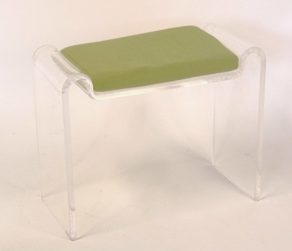 2415: QUADRANT 4 A perspex stool with lime green cushio