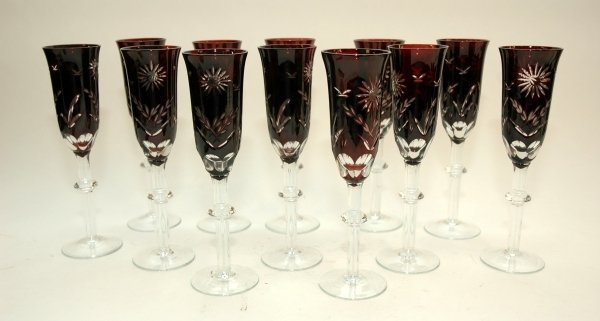 2: A SET OF TWELVE BOHEMIAN RUBY CUT GLASS CHAMPAGNE GL