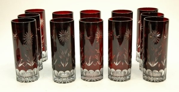 3: A SET OF TWELVE BOHEMIAN RUBY CUT GLASS TALL TUMBLER
