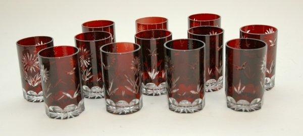 5: A SET OF TWELVE BOHEMIAN RUBY CUT GLASS SMALL TUMBLE