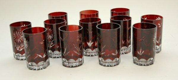 6: A SET OF TWELVE BOHEMIAN RUBY CUT GLASS SMALL TUMBLE