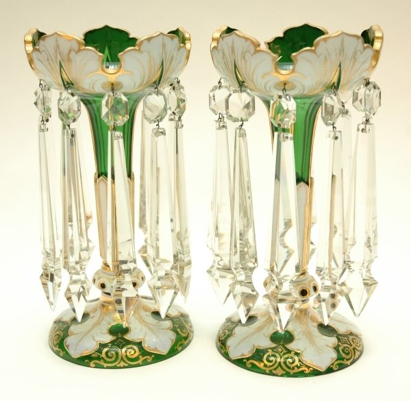 8: A GOOD PAIR OF BOHEMIAN GREEN, GILT AND WHITE OVERLA