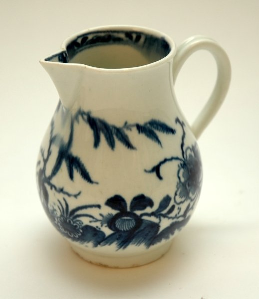 34: A WORCESTER BLUE AND WHITE SPARROW BEAK JUG, 'The C