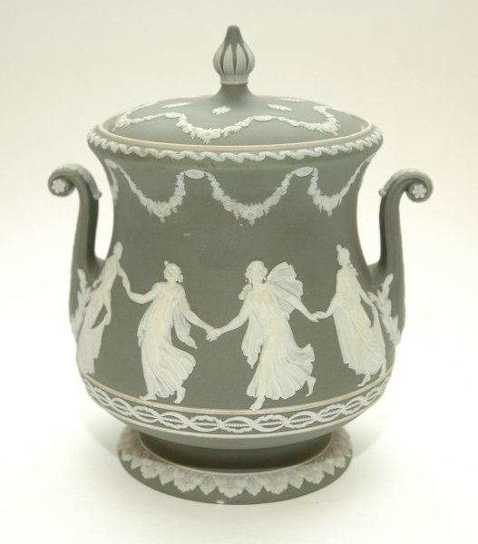 49: A WEDGWOOD GREEN AND WHITE JASPER WARE TWO HANDLED