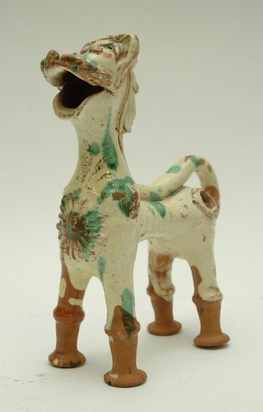 163: A PAINTED TERRACOTTA ANIMAL WATER CARRIER.