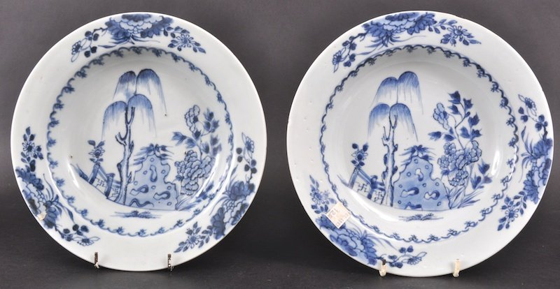 19:  A PAIR OF 18TH CENTURY CHINESE NANKING CARGO BLUE