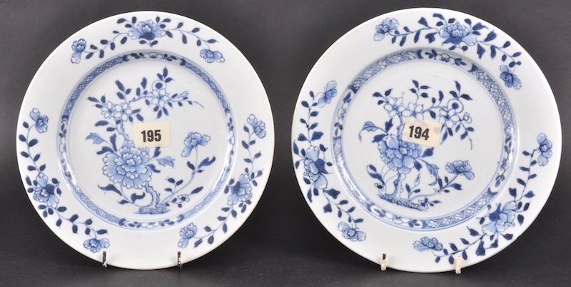 21:  A PAIR OF 18TH CENTURY CHINESE NANKING CARGO BLUE