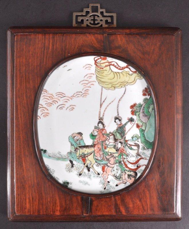519:  A CHINESE KANGXI PORCELAIN FAMILLE VERTE PLAQUE C
