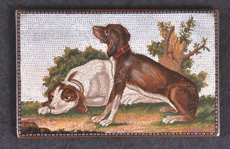 8: AN ITALIAN MICRO MOSAIC TABLET OF TWO DOGS. 6. 5 x 4