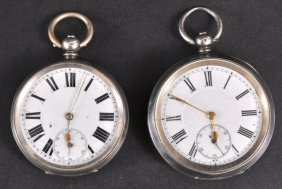 TWO GENTLEMAN�S SILVER POCKET WATCHES.