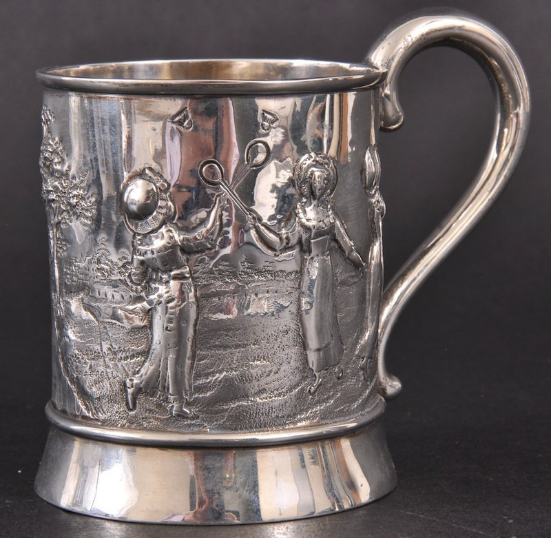 "384:   A VICTORIAN CHRISTENING MUG ""NORAH"", repousse wi"
