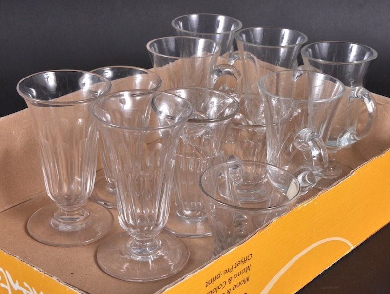 827: SEVEN CUT GLASS CUSTARD GLASSES and TWO PAIRS TAPE