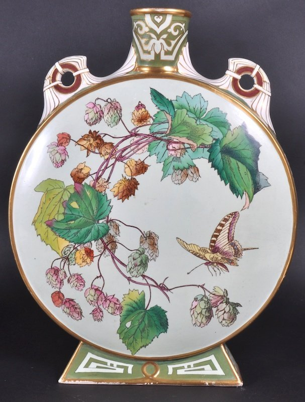 845: A MINTON CIRCULAR MOON FLASK painted with reverse
