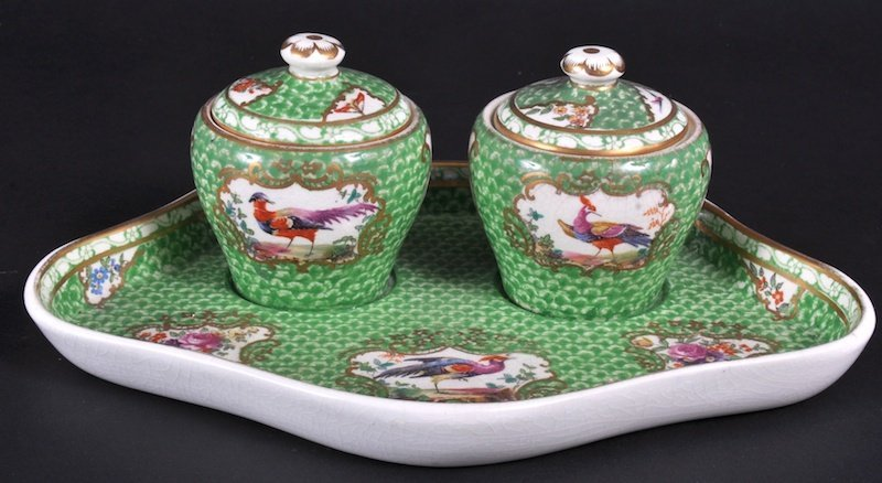 847: A BOOTHS APPLE GREEN SHAPED TWO BOTTLE INKSTAND pa