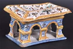 885 AN ITALIAN TIN GLAZE RECTANGULAR TABLE SALT painte