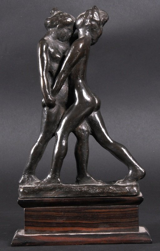 1136: A BRONZE GROUP OF TWO NUDE YOUNG LADIES DANCING.