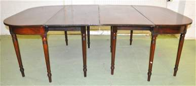 """1407: A GEORGIAN MAHOGANY """"D"""" END DINING TABLE WITH TWO"""