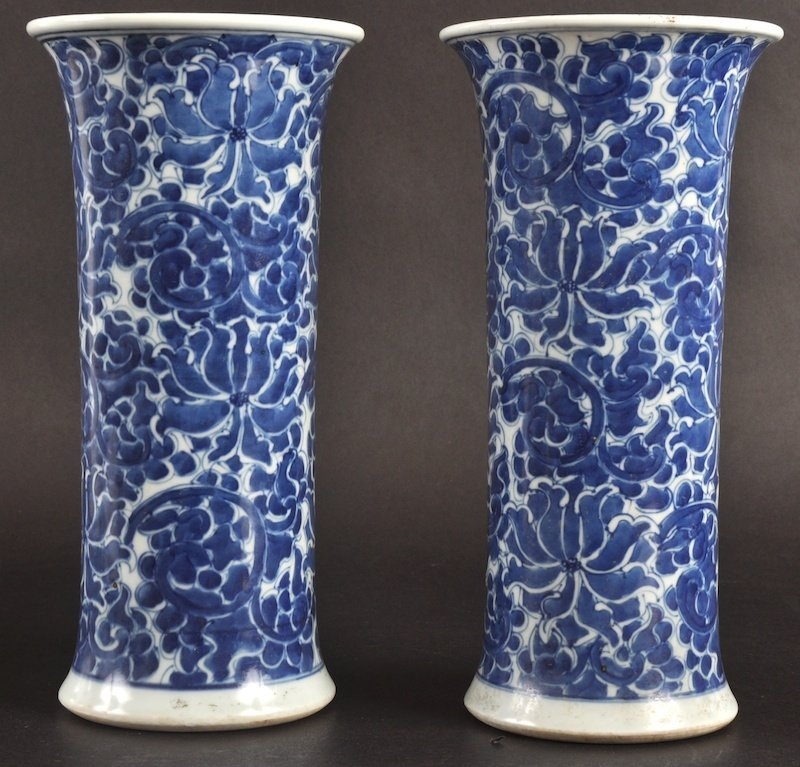 2: A PAIR OF LATE 19TH/20TH CENTURY CHINESE BLUE AND WH