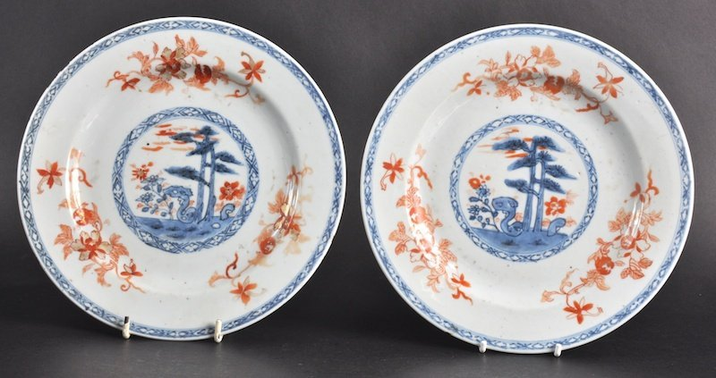 4: A PAIR OF 18TH CENTURY CHINESE EXPORT CIRCULAR PLATE