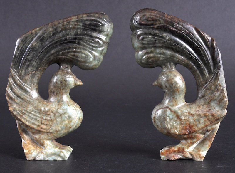 11:   A PAIR OF 19TH CENTURY CHINESE HARDSTONE FIGURES