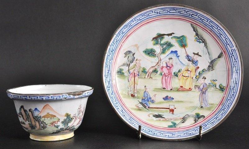 408:   A CHINESE ENAMEL TEABOWL AND SAUCER Probably lat